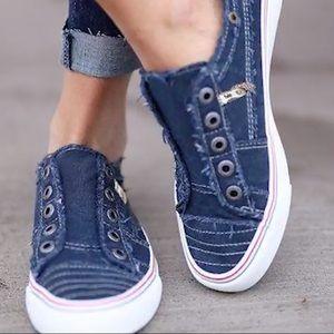 🆕Navy Zipper Canvas Slip-on Athletic Sneakers